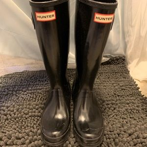 Black Glossy Kids Hunter Boots